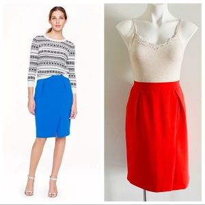 J Crew Red Drapey Crepe Pencil Skirt Front Slit